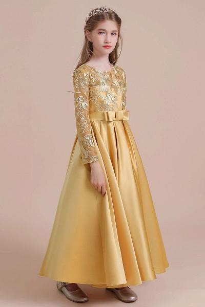 Long Sleeve Satin Ankle Length Flower Girl Dress_4