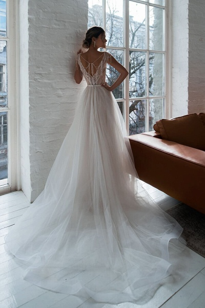 Beading Cathedral Train Tulle A-line Wedding Dress_3