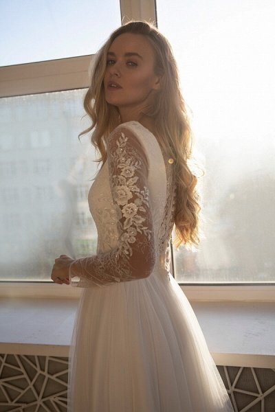 Awesome Long Sleeve Lace Tulle A-line Wedding Dress_5