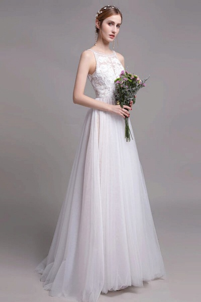 Best Lace Tulle Floor Length A-line Wedding Dress_3