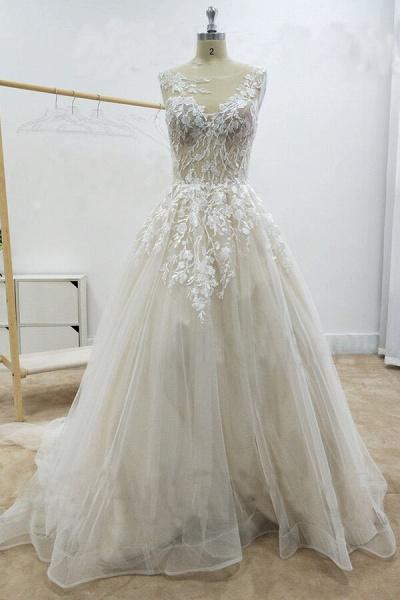 Amazing Appliques Tulle Chapel Train Wedding Dress_1
