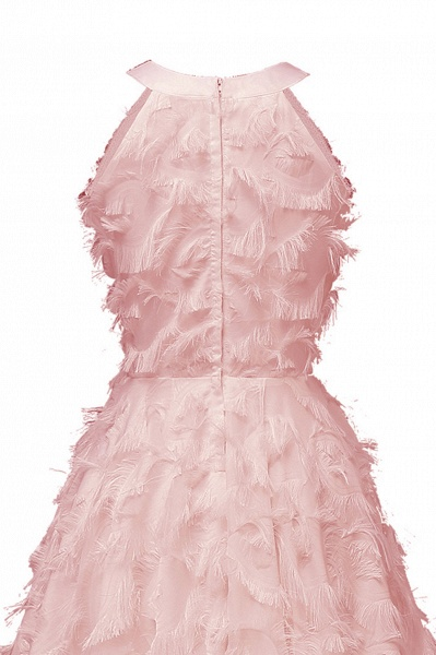 Elegant Halter Feather Princess Vintage Dresses | Retro A-line Burgundy Homecoming Dress_10