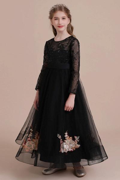 Embroidered Long Sleeve Tulle Flower Girl Dress_5