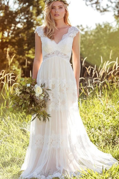 Latest Empire Waist A-line Lace Tulle Wedding Dress_1