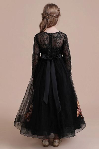 Embroidered Long Sleeve Tulle Flower Girl Dress_3