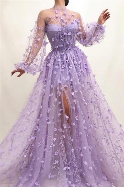 Elegant High Neck Tulle A-line Prom Dress_1