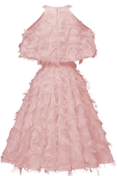 High neck Elegant Crew Neck Artificial Feather Dress Burgundy Princess Midi Dresses_8