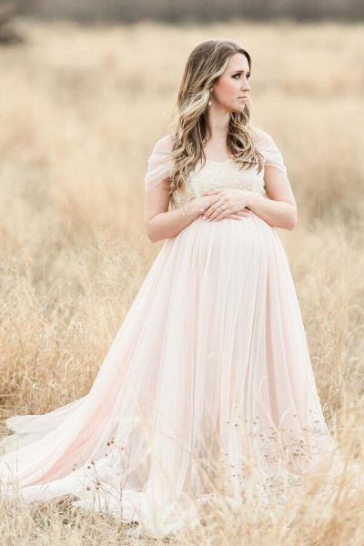 Elegant Short Sleeve Tulle A-line Wedding Dress_1