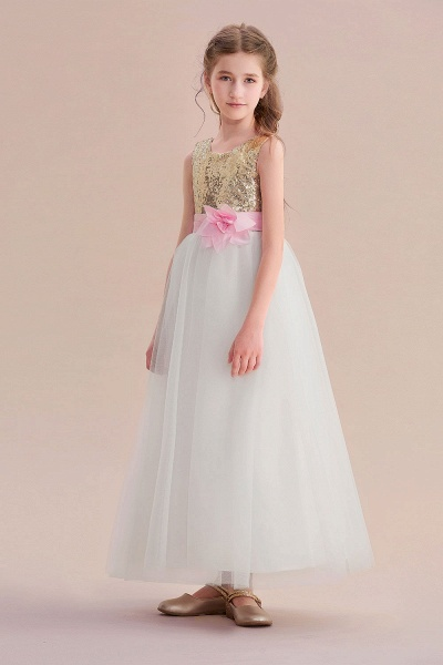 Sequins Tulle High-waisted A-line Flower Girl Dress_6