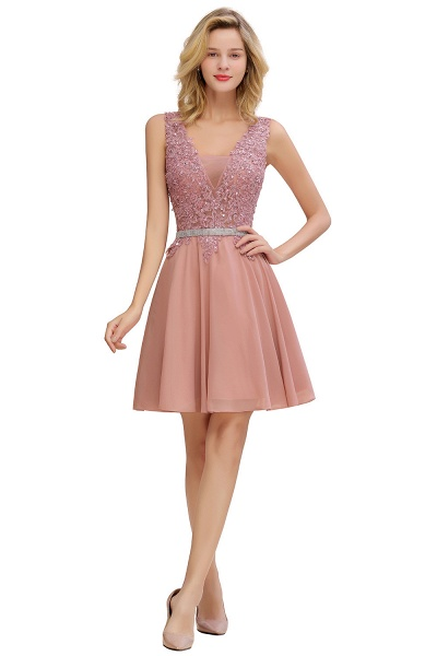 Cute Deep V-neck Short Homecoming Dress with Beaded Belt_7