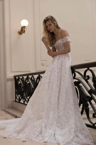Amazing Off-the-Shoulder A-line Wedding Dress_3