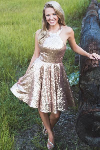 Sparkle Sequins Halter Homecoming Dress_1