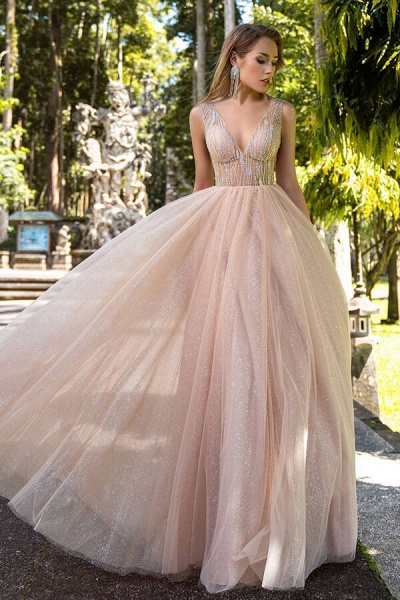 Awesome Glitter Tulle A-line Wedding Dress_1