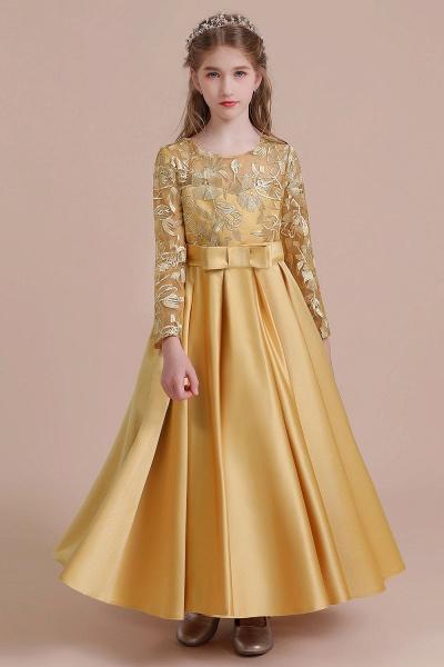Long Sleeve Satin Ankle Length Flower Girl Dress_8