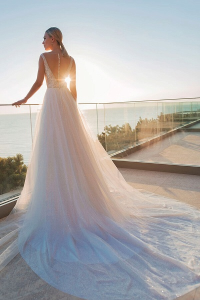 Applique Cathedral Train Tulle A-line Wedding Dress_3