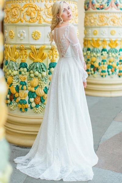 Long Sleeve V-neck Lace Tulle A-line Wedding Dress_4