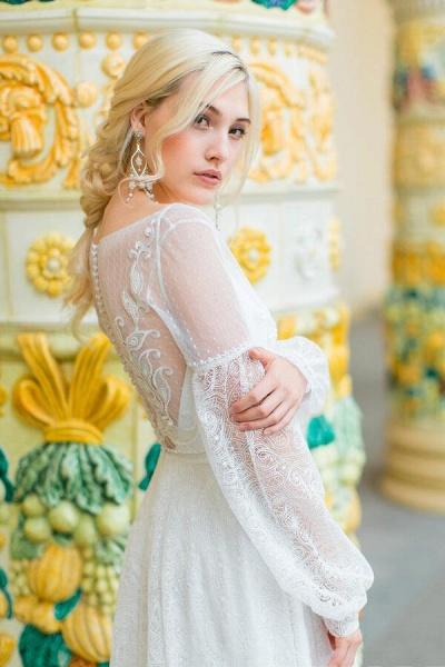 Long Sleeve V-neck Lace Tulle A-line Wedding Dress_7