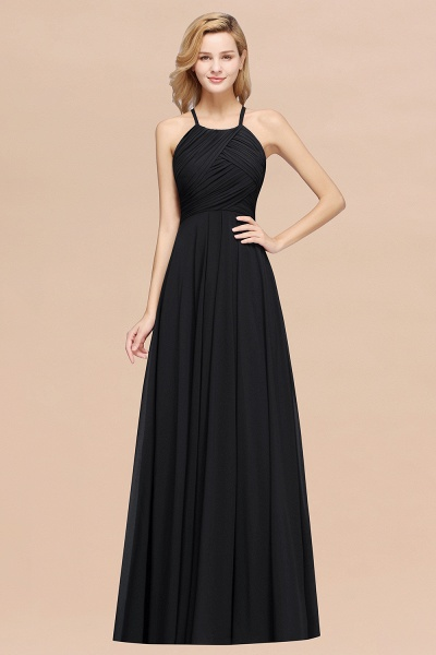 A-Line Chiffon Halter Ruffles Floor-Length Bridesmaid Dress_29