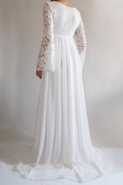 Elegant Long Sleeve Chiffon Lace Wedding Dress_3