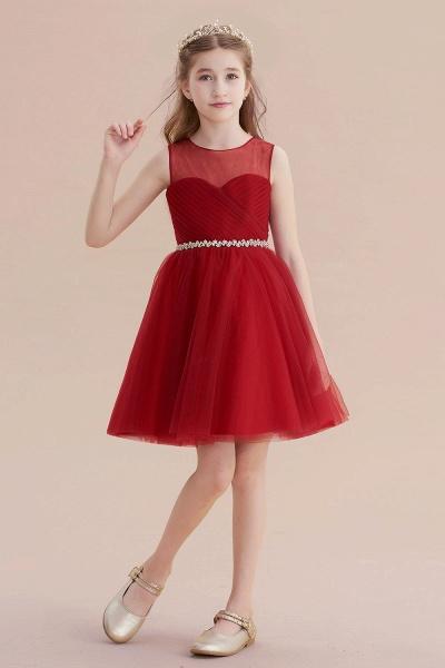 Illusion Tulle Knee Length A-line Flower Girl Dress_4