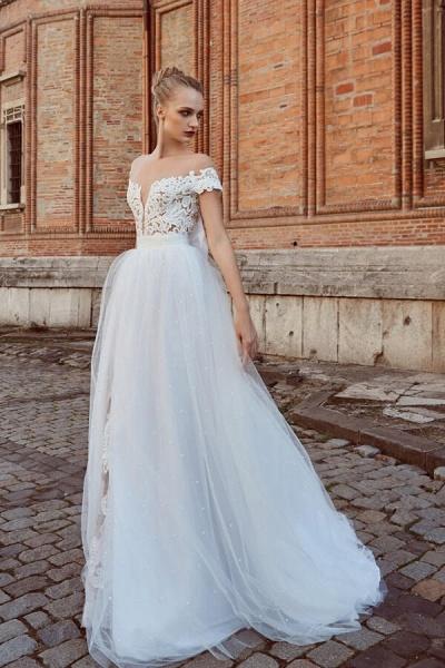 Off-the-shoulder Chapel Length A-line Wedding Dress_1