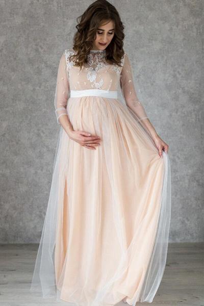 Graceful Applique Floor Length Tulle Wedding Dress_1
