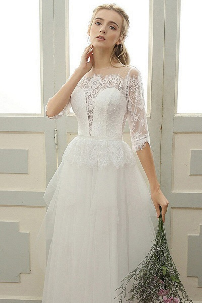 Chic Illusion Lace Tulle A-line Wedding Dress_5