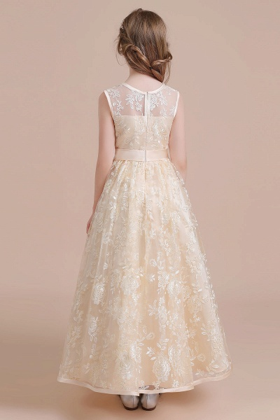 Amazing Lace Tulle A-line Flower Girl Dress_3