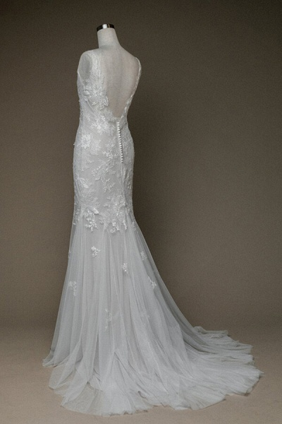 Amazing V-neck Appliques Mermaid Wedding Dress_3