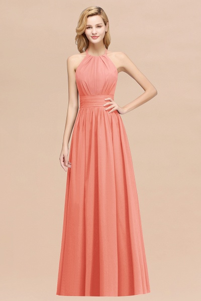 A-line Chiffon Appliques Halter Sleeveless Floor-Length Bridesmaid Dresses with Ruffles_45