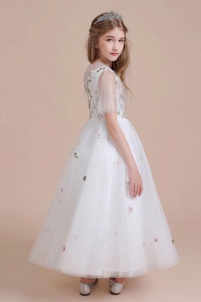 Short Sleeve Embroidered Tulle Flower Girl Dress_9