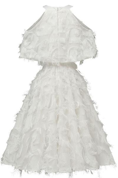 High neck Elegant Crew Neck Artificial Feather Dress Burgundy Princess Midi Dresses_16