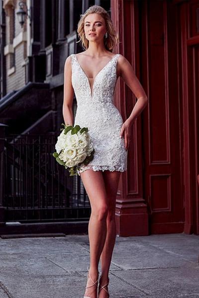 V-neck Lace Chapel Train Organza Wedding Dress_4