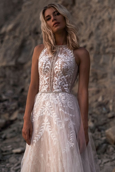 Eye-catching Lace Tulle A-line Wedding Dress_1