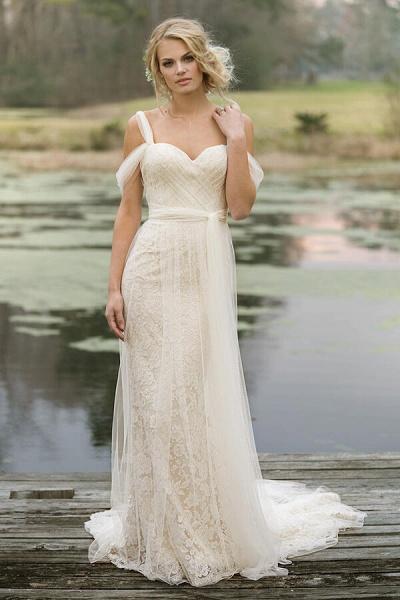 Best Cold-shoulder Lace Tulle Sheath Wedding Dress_1