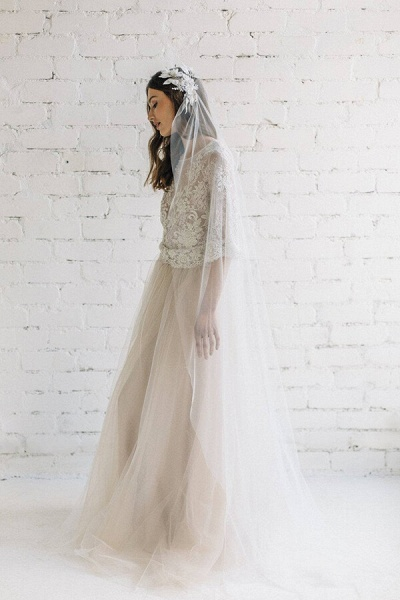 Eye-catching Lace Tulle Two Piece Wedding Dress_5