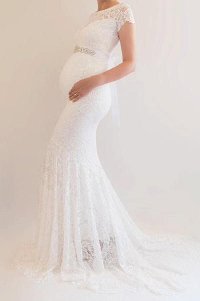 Elegant Short Sleeve Lace Mermaid Wedding Dress_4