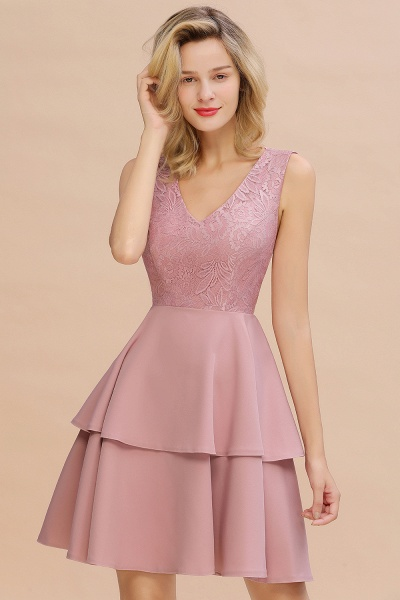 Sexy V-neck V-back Knee Length Homecoming Dress with Ruffle Skirt_18