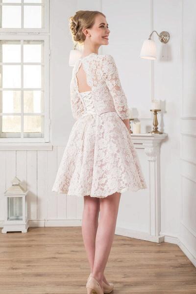 Cute Lace Knee Length A-line Wedding Dress_3