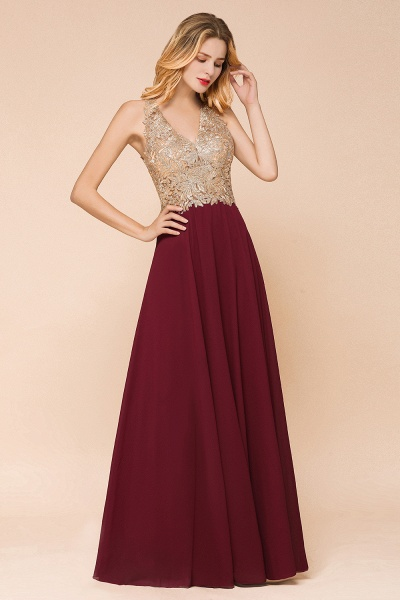 Awesome V-neck Chiffon Evening Dress_16