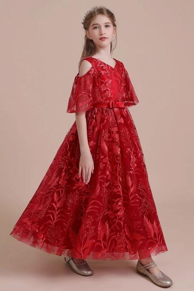 V-neck Tulle A-line Cold-shoulder Flower Girl Dress_7