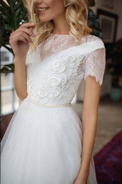 Short Sleeve Lace A-line Chiffon Wedding Dress_5