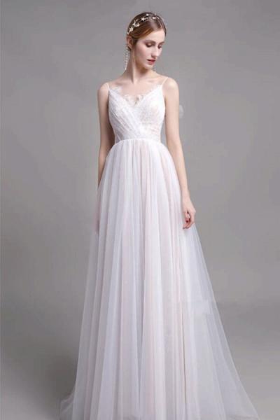 Graceful Spaghetti Strap Lace Tulle Wedding Dress_1
