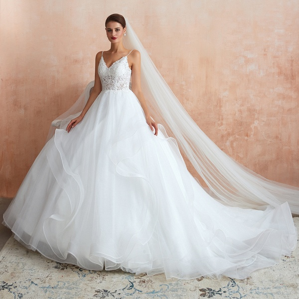 Glorious Appliques Tulle A-line Wedding Dress_6