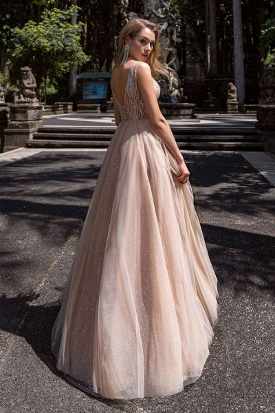 Awesome Glitter Tulle A-line Wedding Dress_3