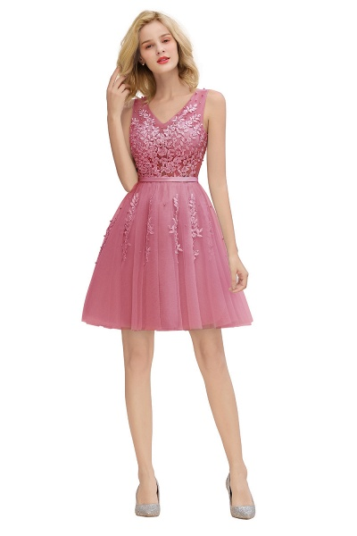 Sexy V-neck Lace-up Short Homecoming Dress with Lace Appliques_26