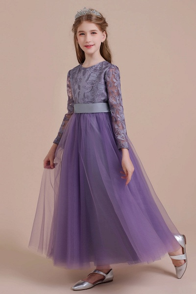 Long Sleeve A-line Ankle Length Flower Girl Dress_4