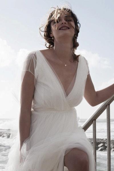 Best V-neck Floor Length Tulle Sheath Wedding Dress_6