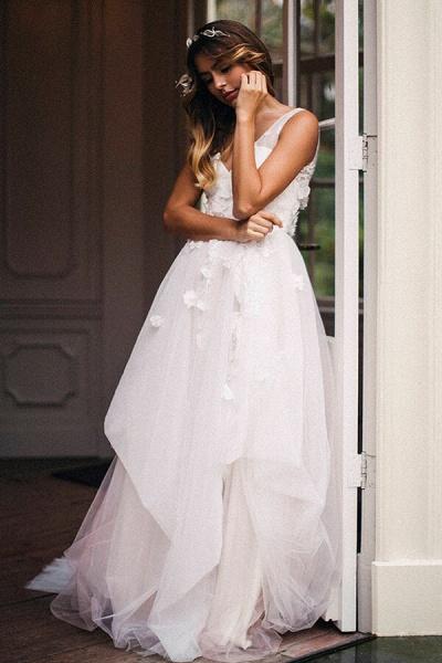 Affordable V-neck Appliques Wedding Dress_3