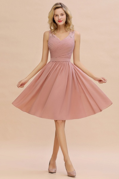 Lace V-neck Long Short Homecoming Dresses with Belt | Sexy Sleeveless V-back Pink Knee length Cocktail Dress_6